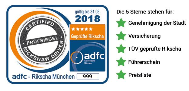Prüfsiegel des ADFC Kreisverband München e.V. für Rikschafahrer/innen