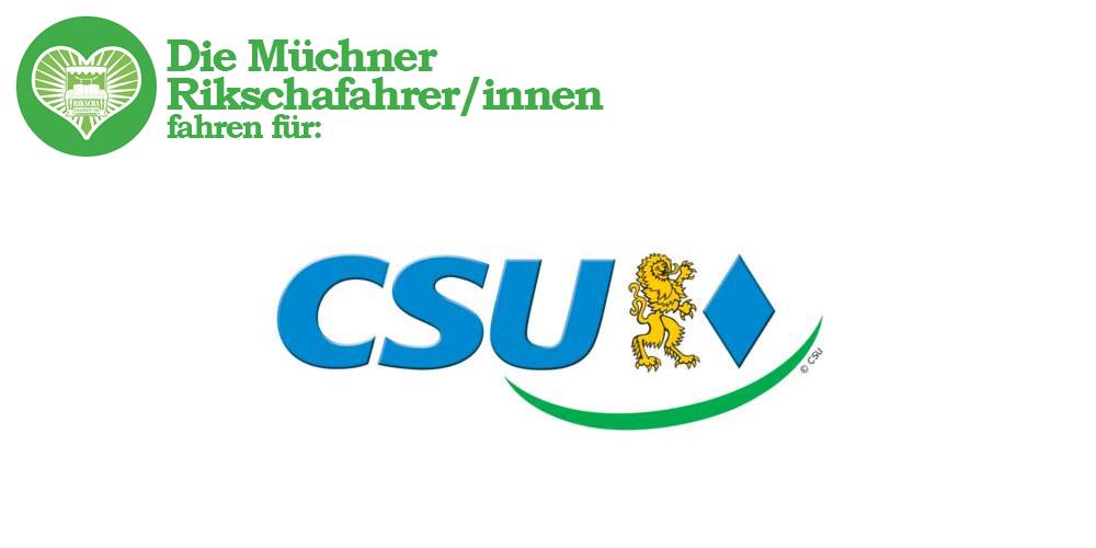 Die Münchner Rikschafahrer/innen fahren für CSU