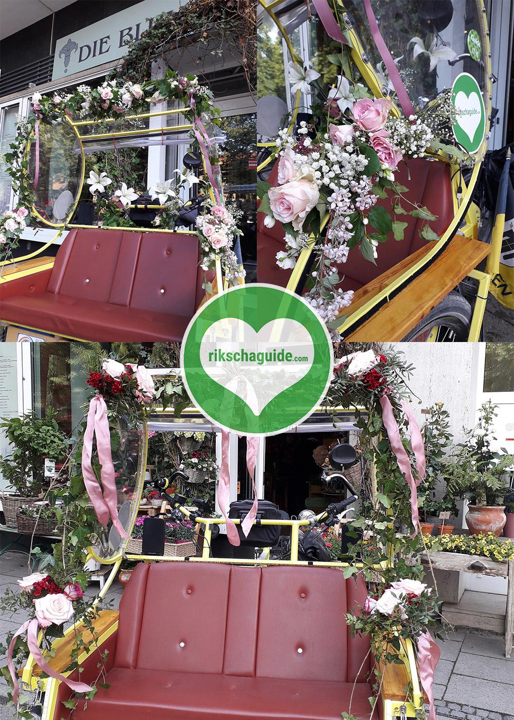 rikschaguide.com | Die Muenchner Rikschafahrer/-innen | Blumenschmuck an der Hochzeitsrikscha